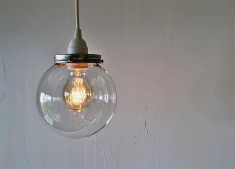 Glass Globes For Light Fixtures Hanging Pendant L With A Clear Orb Glass Globe Shade Simple Minimalist