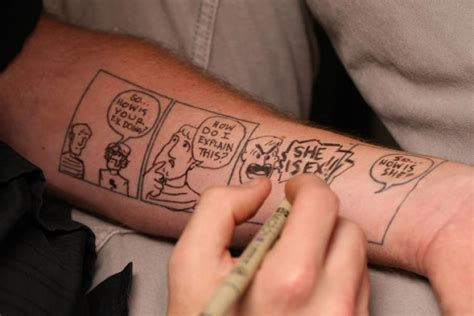 comic strip tattoo designs artist gets blank comic tattooed on forearm ny