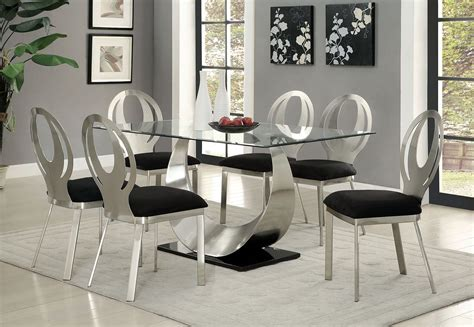 Orla Silver And Black Rectangular Dining Room Set Cm3726t Black And Silver Dining Room Set