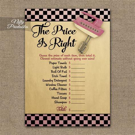 printable price is right bridal shower game printable price is right bridal shower game kitchen shower