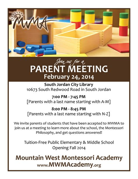 parent flyer templates parent meeting mountain west montessori academy