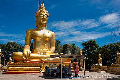 golden buddha statue wat phra yai pattaya editorial