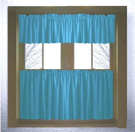 Turquoise Valances For Windows Inspiration Turquoise Color Tier Kitchen Curtain Two Panel Set