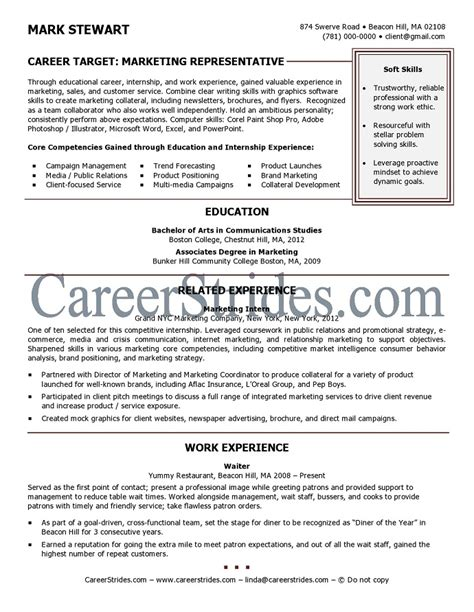 resume sle of a recent college graduate by a nationally