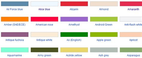 unique color names color names and codes for fashion designers using