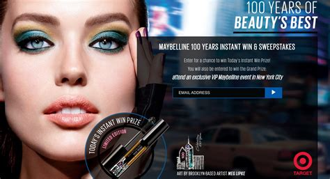 Easiest Sweepstakes To Win - maybelline s 100 years of beauty s best instant win sweepstakes thrifty momma