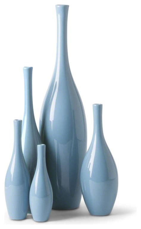 Modern Vases by Bliss Modern Tulip Blue Ceramic Vases Set Of 5