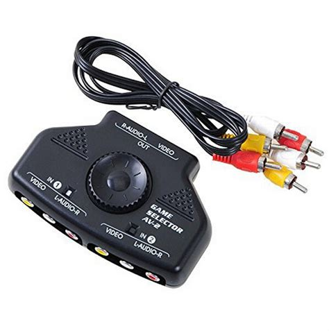 av input to speaker wire 2 port input 1 output audio av rca switch selector box splitter with rca cable for