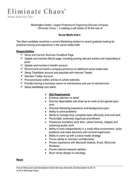Description For Resume by Intern Description Resume Template Sle
