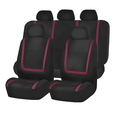 Car Mats And Seat Covers by Car Seat Covers Burgundy Black Set For Auto W Black