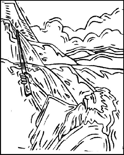 moses strikes the rock coloring sheet coloring pages