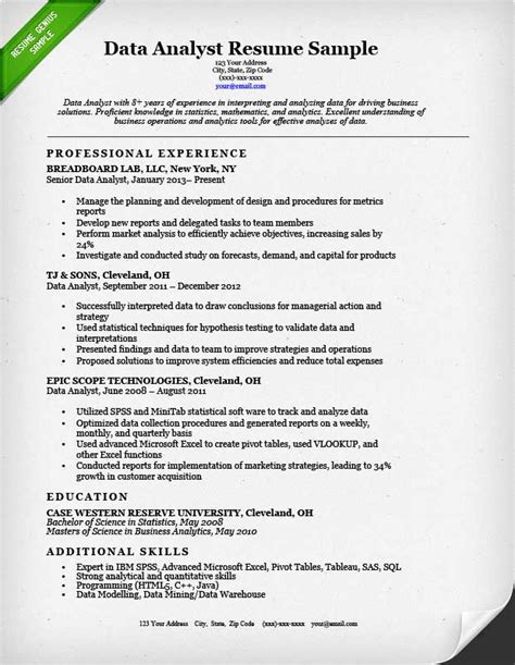 Data Analyst Resume Examples   Resume Format 2017