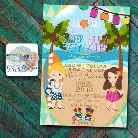 hawaiian themed invitations luau beach themed gender reveal baby shower invitation by
