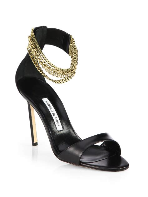 manolo blahnik sandals manolo blahnik evolu leather chain sandals in black