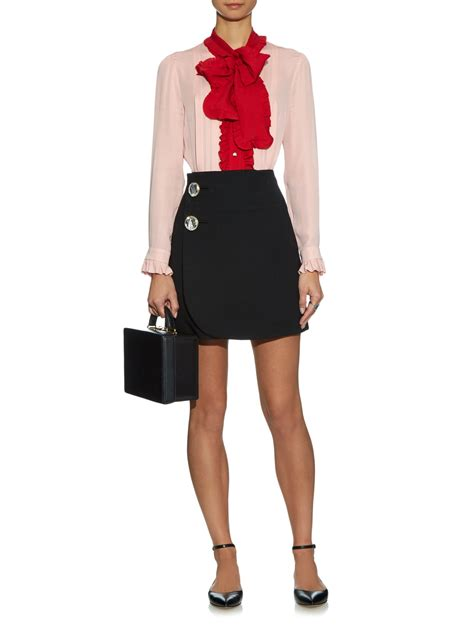 Blouse Merk Jucci 2 gucci ruffle trimmed silk crepe blouse in pink lyst