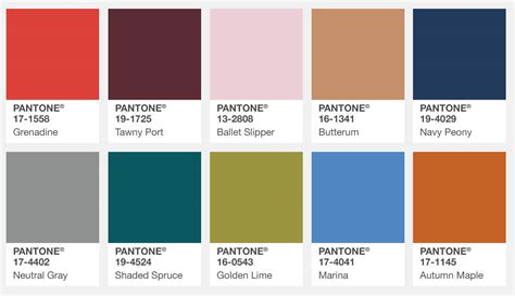 pantone color palette pantone color institute releases fall 2017 fashion colour