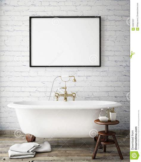 mock  poster frame  vintage hipster bathroom interior