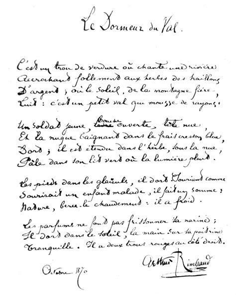 Le Dormeur Du Val De Rimbaud by Po 232 Me Le Dormeur Du Val D Arthur Rimbaud