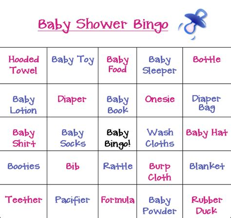 Couples Baby Shower Food Ideas - all new baby shower bingo game