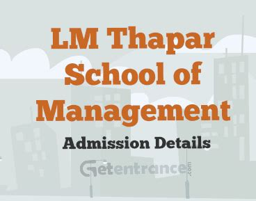 Thapar Mba Eligibility by Lm Thapar Som Mba Admission 2017 Getentrance