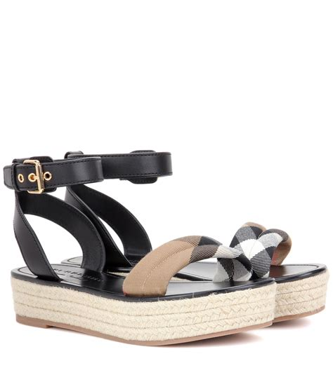 burberry sandals burberry parkeston leather espadrille sandals in black lyst
