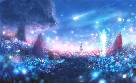 anime landscape android wallpaper download 1330x819 anime landscape particles scenic