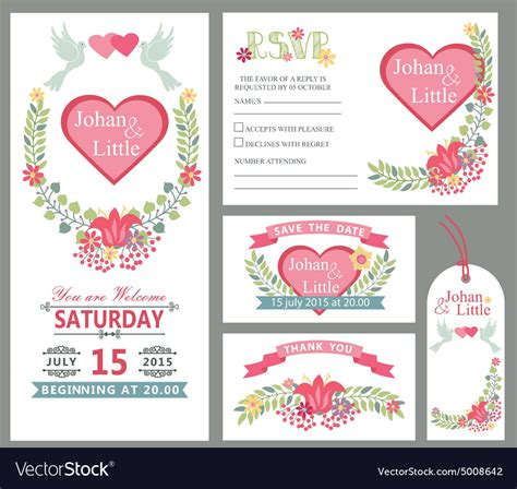 Wedding Card Design Template by Wedding Card Design Template Setfloral Decor Vector Image