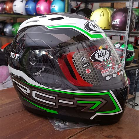 Kyt Helm Rc Seven 7 Jual Helm Kyt Rc 7 Seven Rc7 Black White Green
