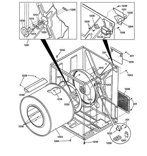 cabinet drum diagram parts list for model nvl333eb0ww