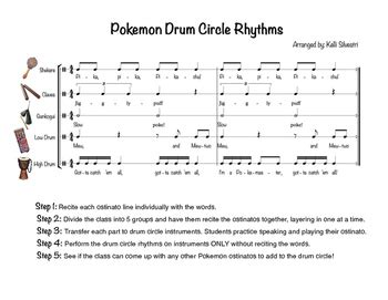 rhythm path drum circle pokemon rhythms drum circle activity by ms silvestri s
