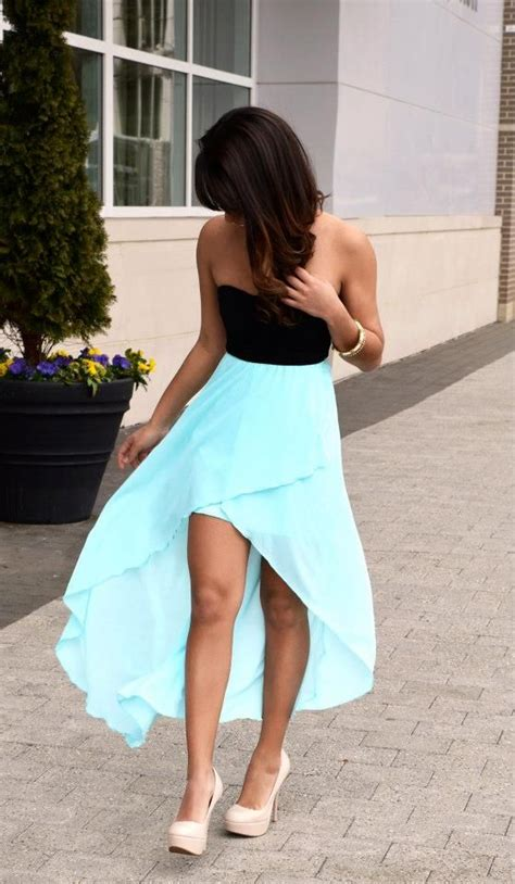 Cuuuuute And by Cuuuuute Blue Hi Low Dress And Heels