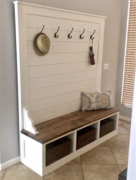 hand crafted farmhouse shiplap cubby bench   awesome