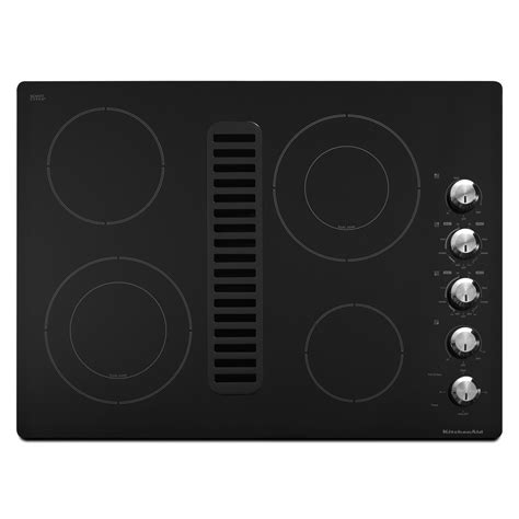 Downdraft Cooktops Kitchenaid Kecd807xbl 30 Quot Electric Black Downdraft Cooktop Sears Outlet
