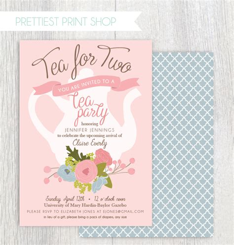 printable tea baby shower invitation tea pot floral