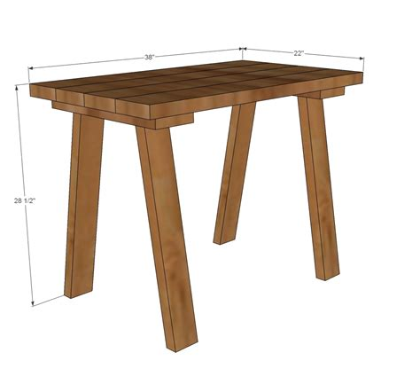 ana white simple small trestle desk diy projects