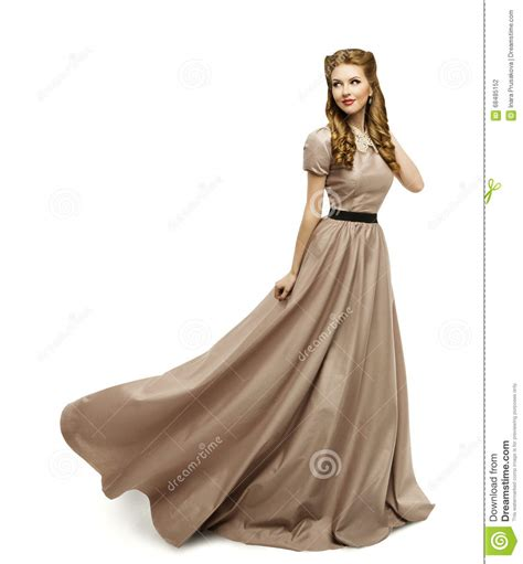 brown dress fashion model in gown turning
