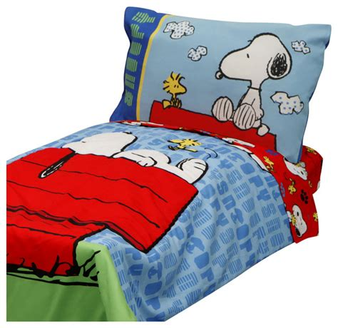 4pc snoopy toddler bedding set peanuts comforter and