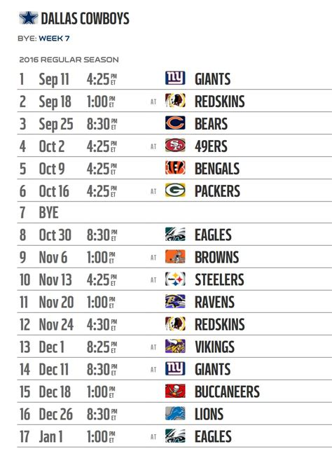 Dallas Cowboys Printable Schedule 2017
