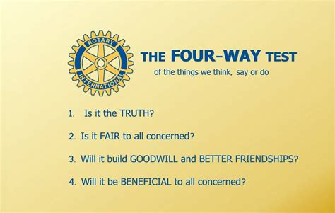 Does Forum Credit Union Test defuse difficult with the four way test credit