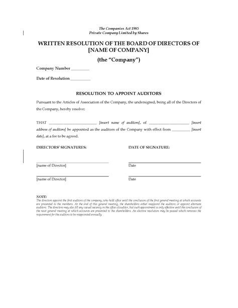 resolution template for board of directors uk board of directors resolution to appoint auditors
