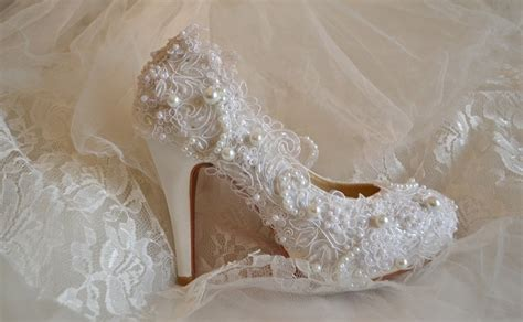 Wedding Shoes With Pearls by Wedding Shoes With Lace And Pearls Wedding Shoes