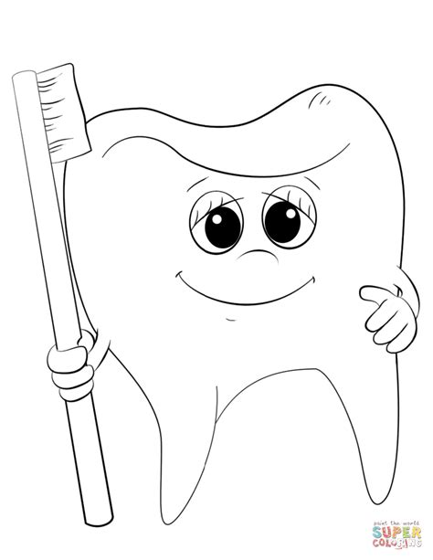 cartoon tooth and toothbrush coloring page free