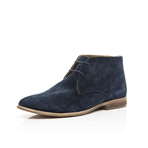 navy blue mens boots lyst river island navy suede chukka boots in blue for
