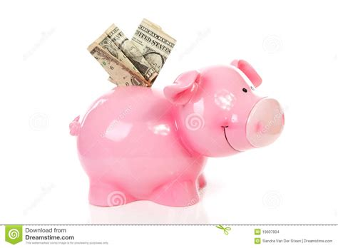 pink piggy bank with money pink piggy bank with dollar money stock images image