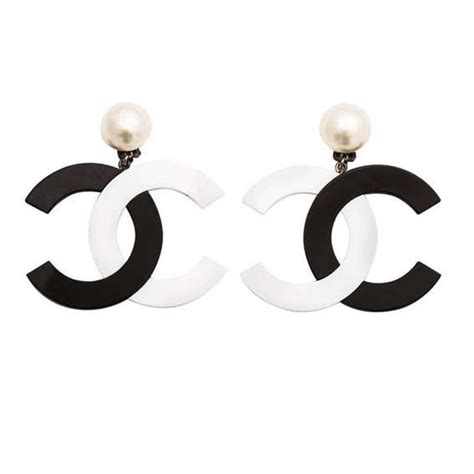 A Black And White Affair At Chanel Jewelry Of Diamonds by Chanel Black White Large Cc Dangling Earrings At 1stdibs