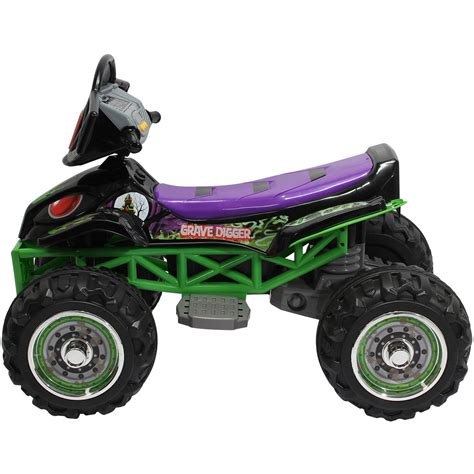 grave digger monster truck power wheels monster jam grave digger quad 12 volt battery powered ride