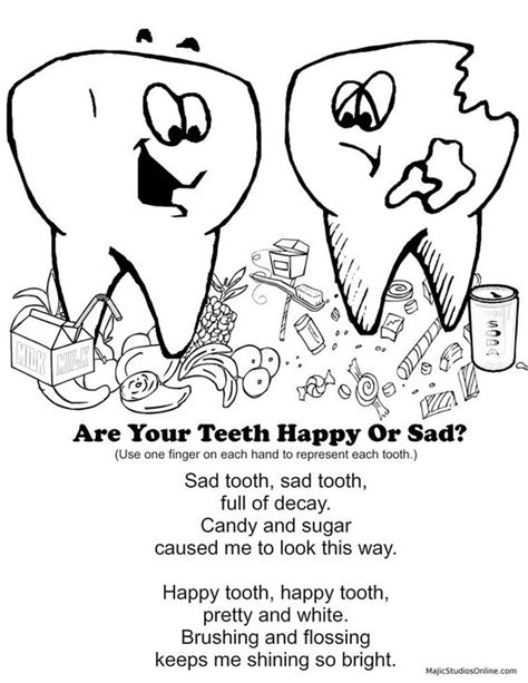 teeth coloring pages for kindergarten teeth coloring pages happy tooth sad tooth fingerplay