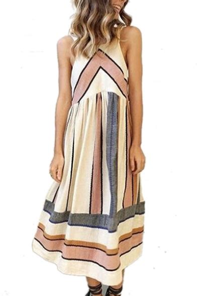 Printed Maxi A Line Dress chic color block striped printed sleeveless maxi a line