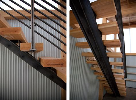 Steel Staircase Design Metal Staircase Frame Riveted To Wooden Stairs Manufactured In House And Installed House