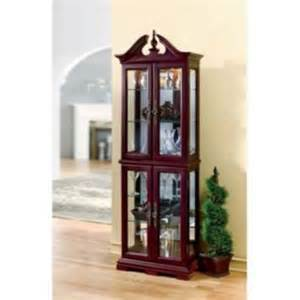 Lighted Console Curio Cabinet Cherry Lighted Curio Cabinet 24 Quot W X 12 Quot D X 72 Quot H Ebay